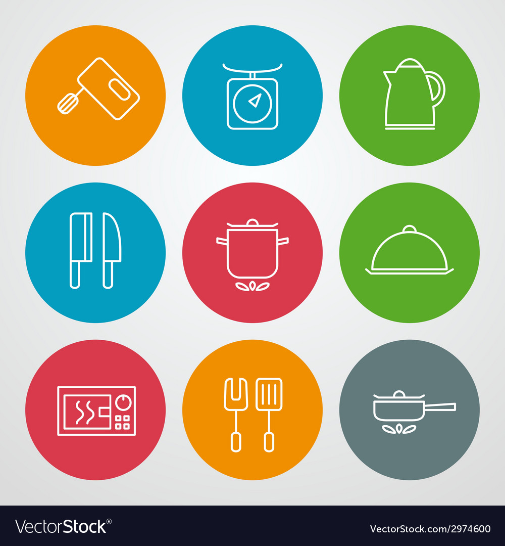 Line icons set for web site design and mobile apps vector | Price: 1 Credit (USD $1)