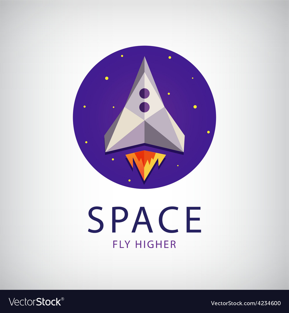 Modern origami space rocket icon vector | Price: 1 Credit (USD $1)