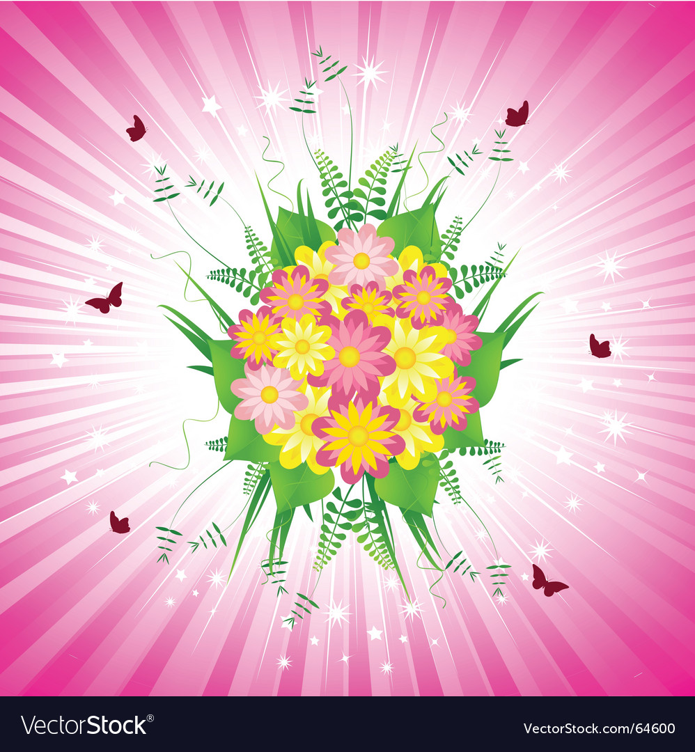 Pink floral bouquet and starburst vector | Price: 1 Credit (USD $1)