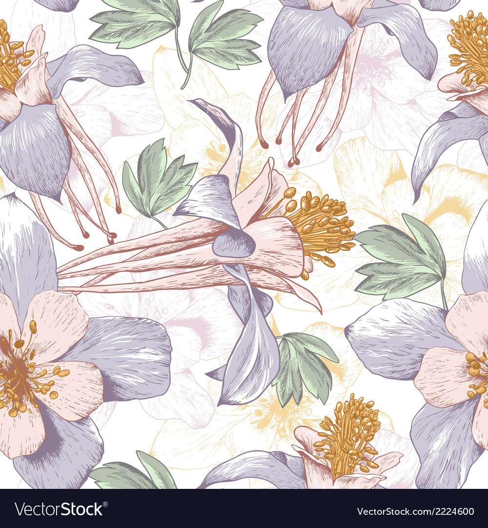 Seamless floral background with white flowers vector | Price: 1 Credit (USD $1)