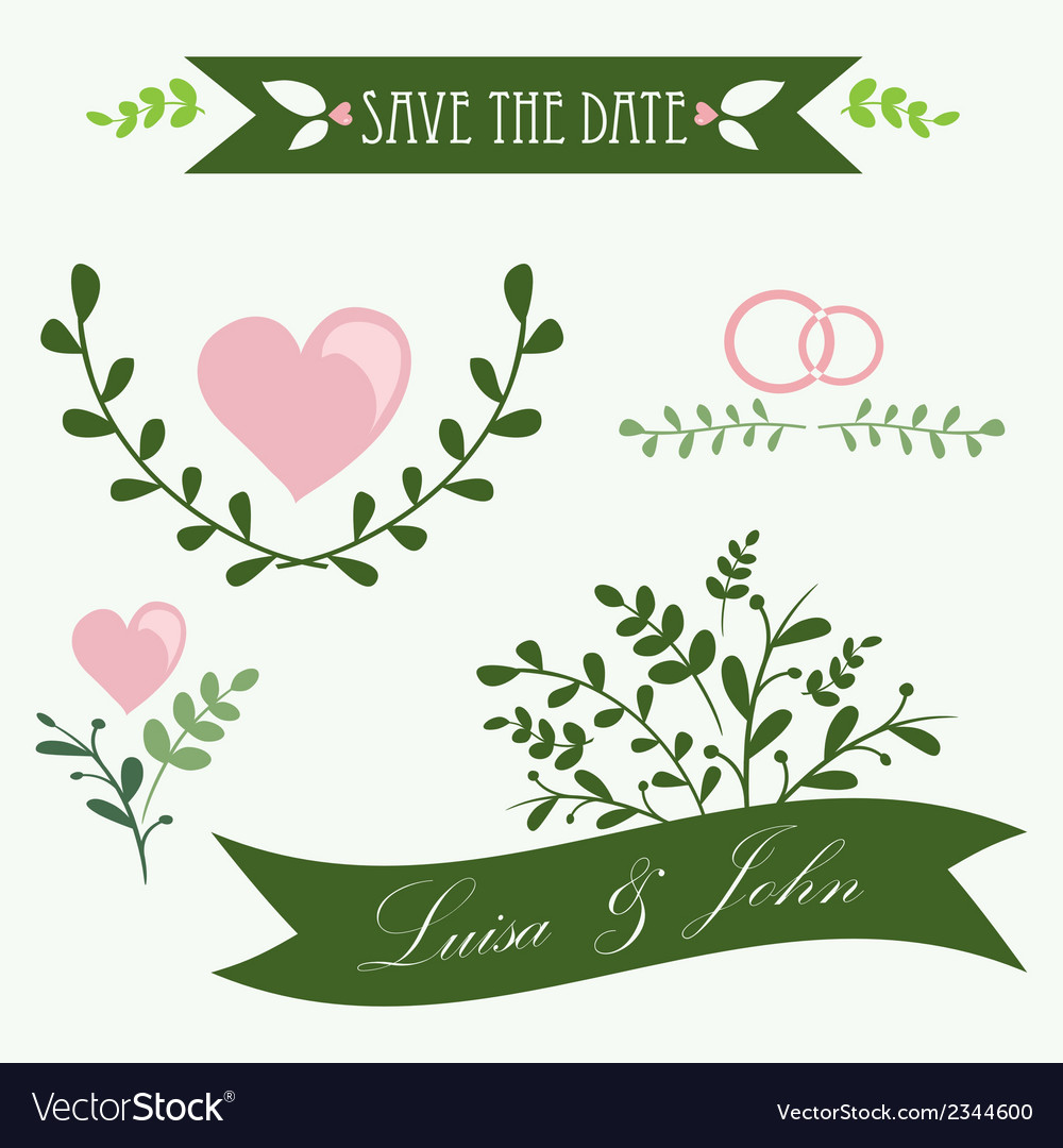 Set of vintage flowers and ribbons vector | Price: 1 Credit (USD $1)
