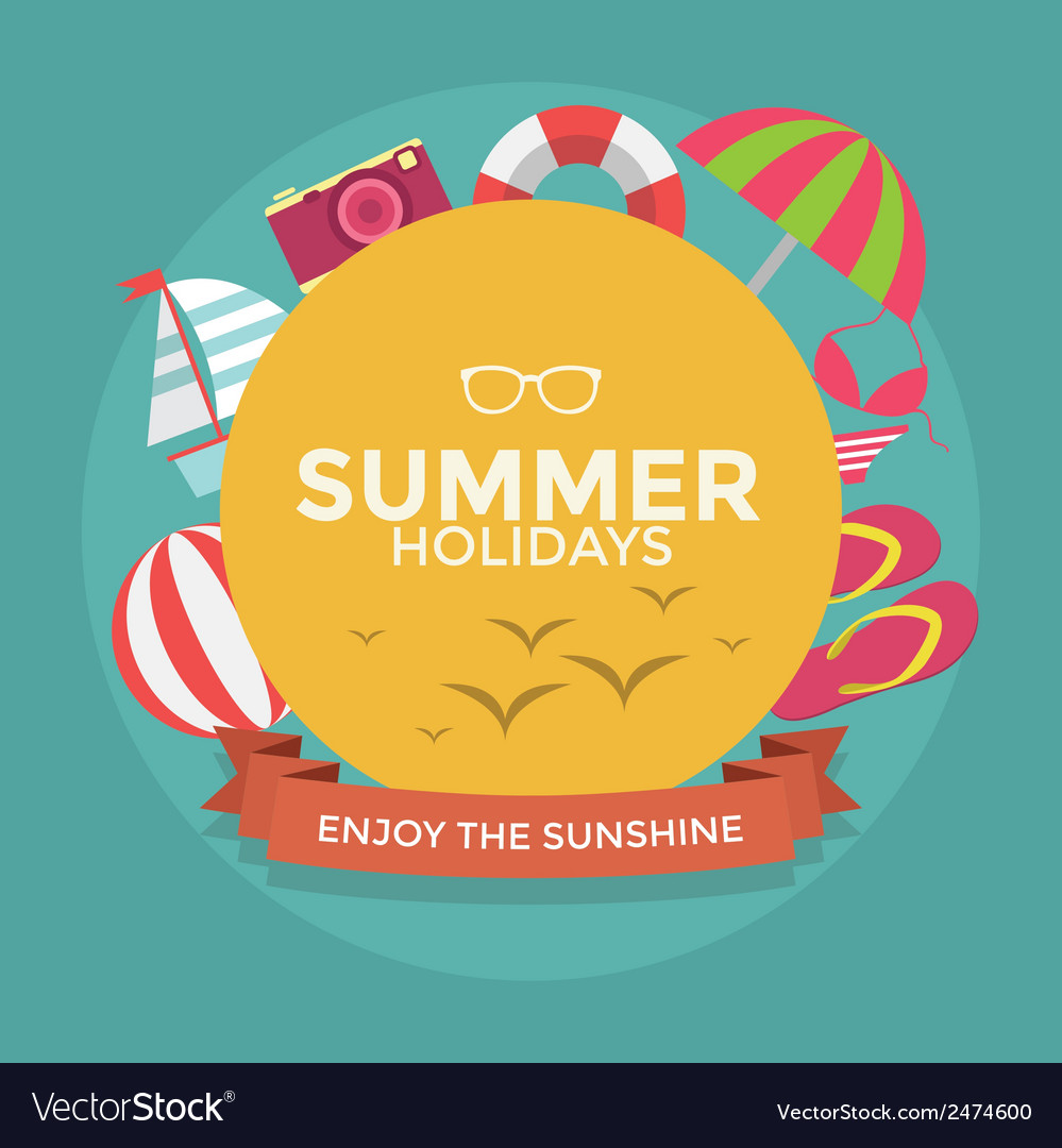 Summer holidays typography with flat icon summer vector | Price: 1 Credit (USD $1)
