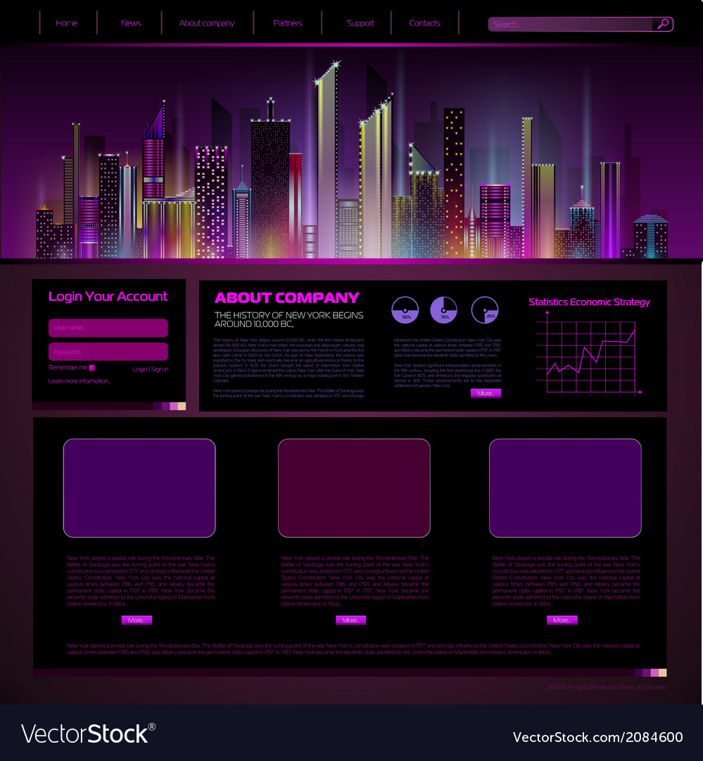 Web site design night city vector | Price: 1 Credit (USD $1)