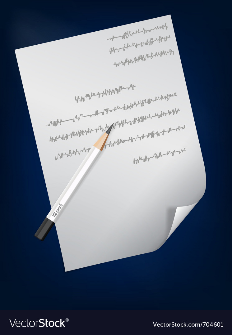 A page of handwritten text and pencil on it vector | Price: 1 Credit (USD $1)