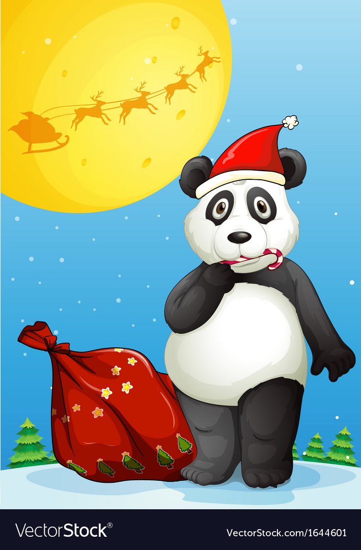 A panda wearing santas hat while eating a cane vector | Price: 3 Credit (USD $3)