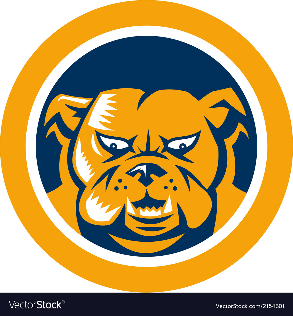 Bulldog mongrel dog head circle vector | Price: 1 Credit (USD $1)