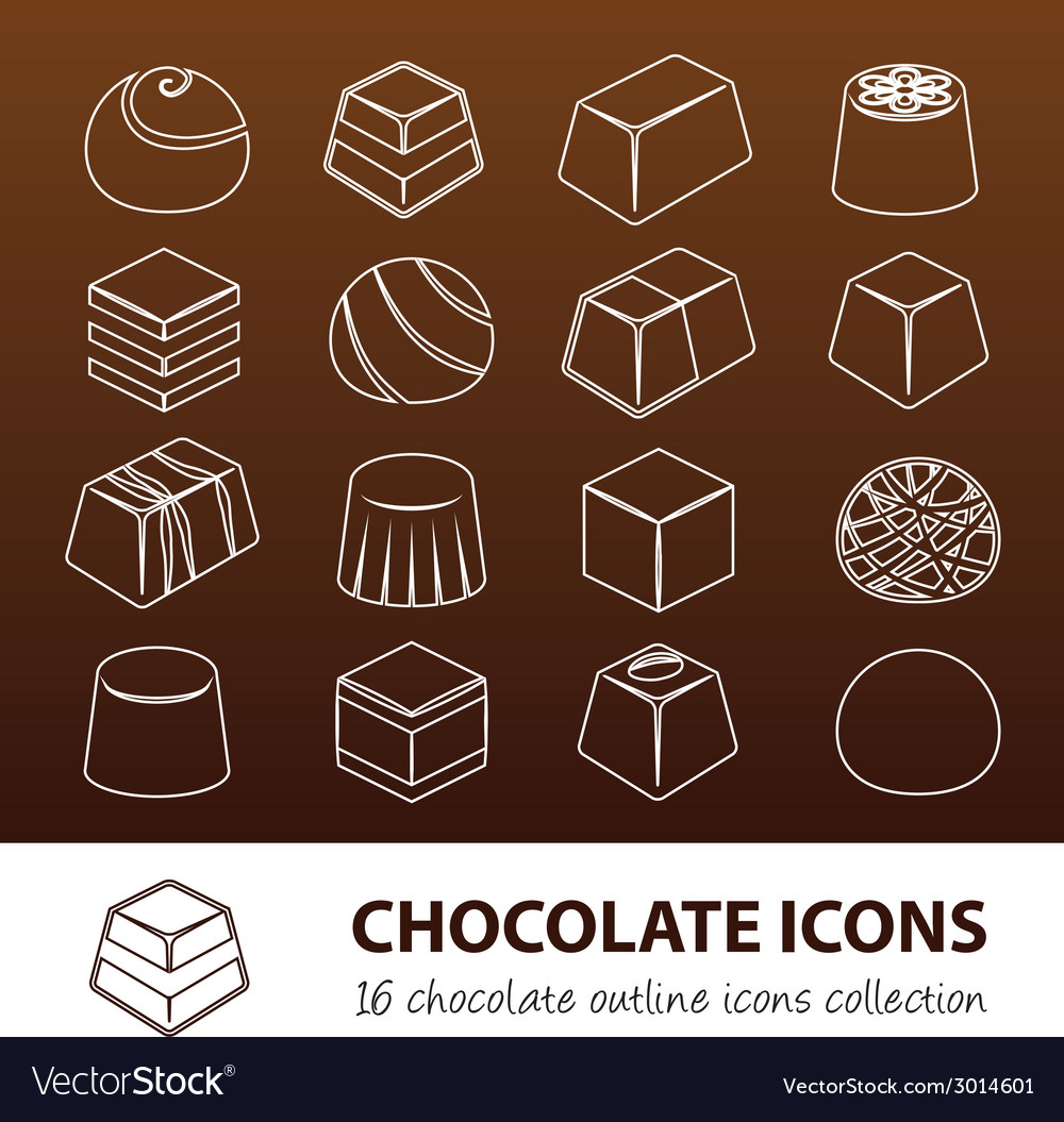 Chocolate outline icons vector | Price: 1 Credit (USD $1)