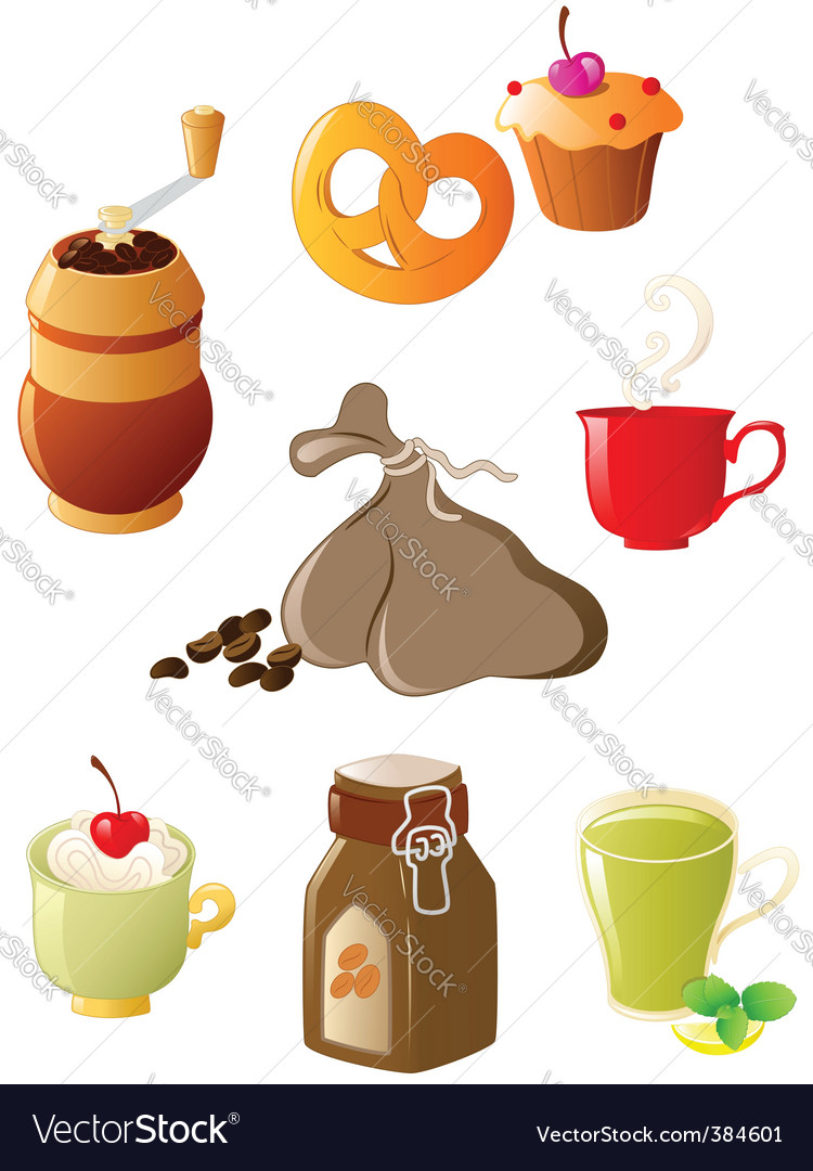 Coffee and tea icons vector | Price: 1 Credit (USD $1)