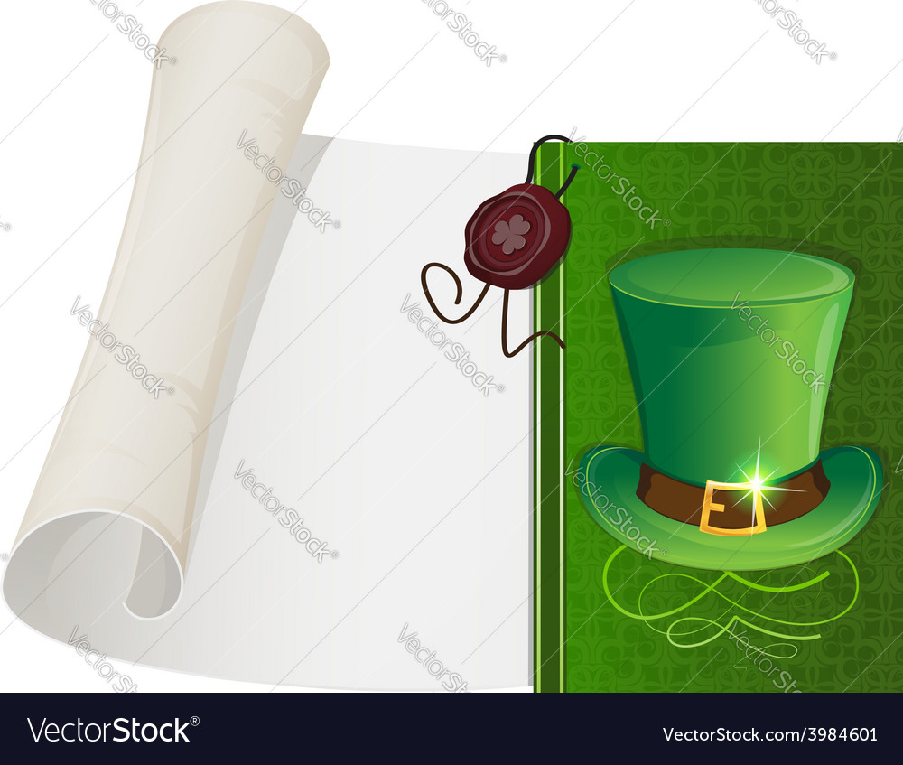 Leprechaun hat and paper scroll vector | Price: 1 Credit (USD $1)