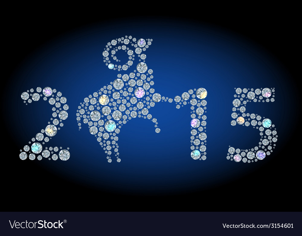 Number 2015 and brilliant sheep vector