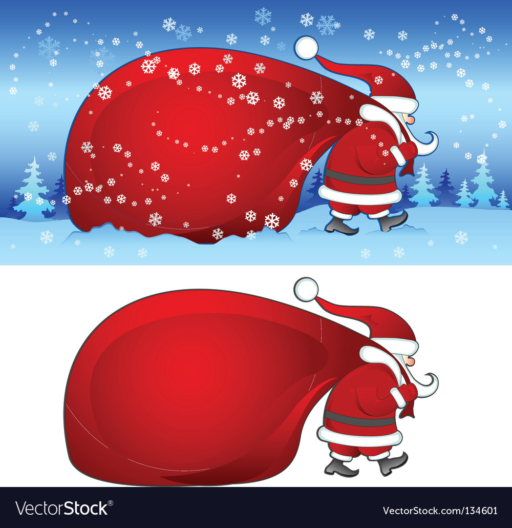 Santa with bag in blue vector | Price: 1 Credit (USD $1)