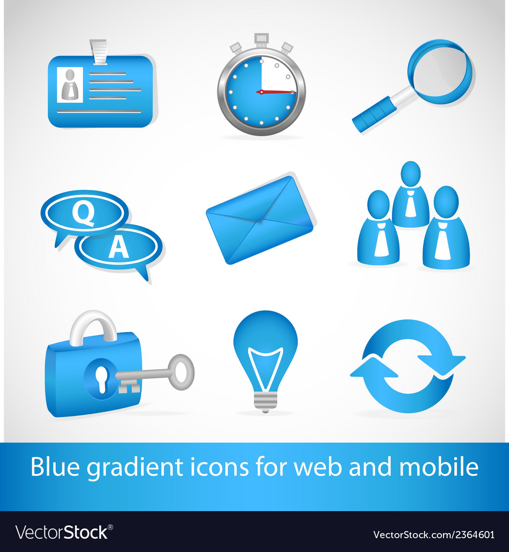Set of blue gradient icons for web applications vector | Price: 1 Credit (USD $1)