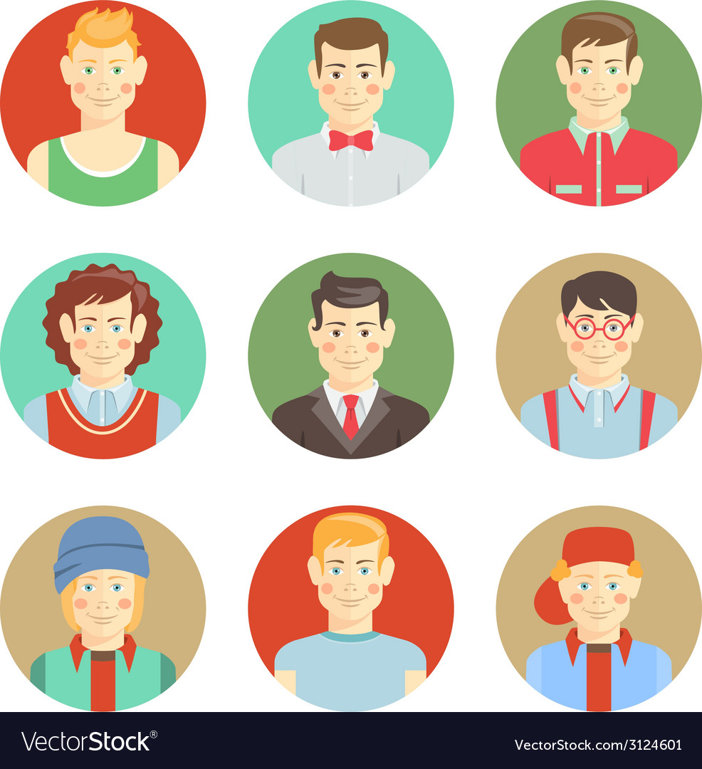 Set of boys avatar faces in flat style vector | Price: 1 Credit (USD $1)