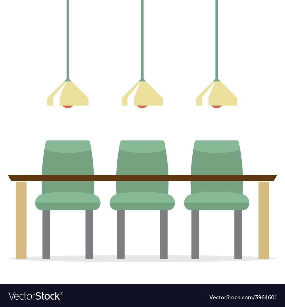 Three empty chairs with long table isolated on vector | Price: 1 Credit (USD $1)