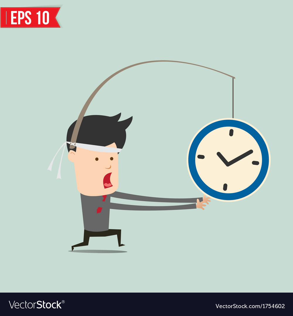 Cartoon business man trying to reach a clock - vector | Price: 1 Credit (USD $1)