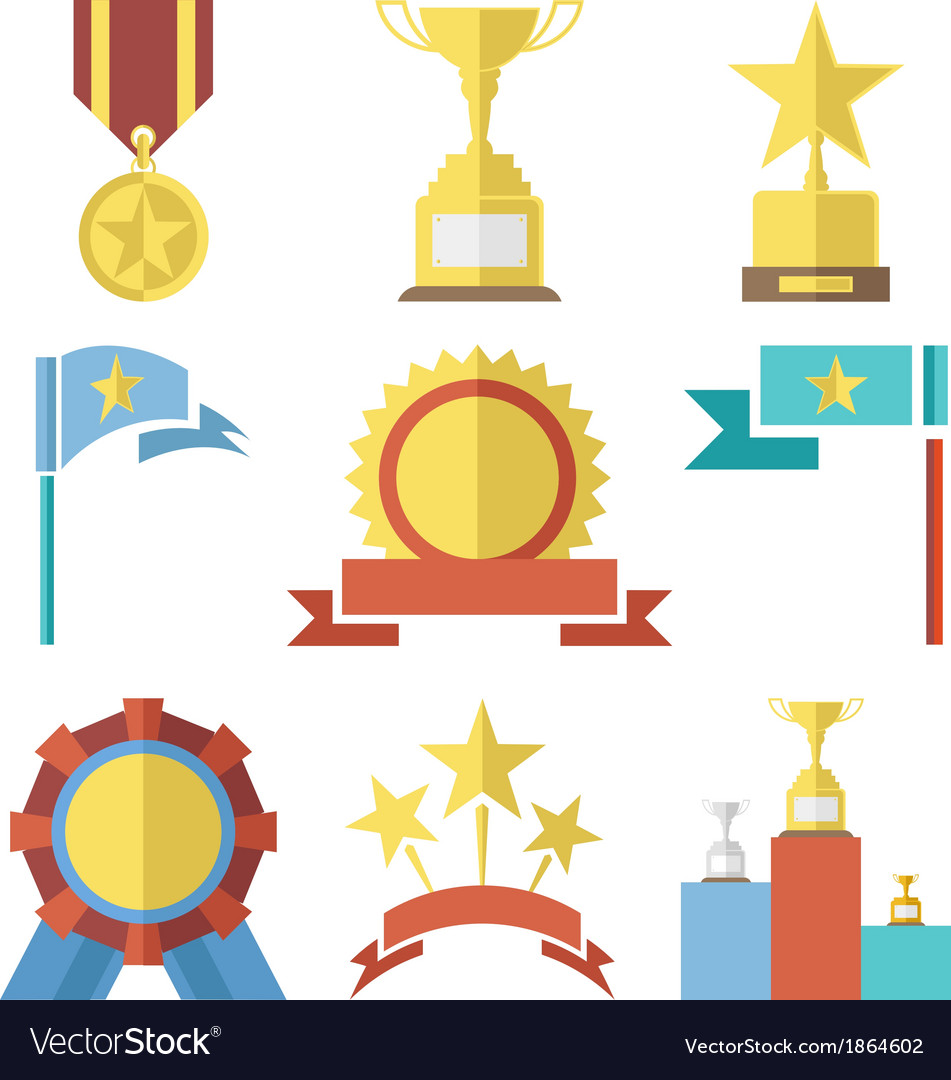 Flat design style awards and trophy icons set vector | Price: 1 Credit (USD $1)