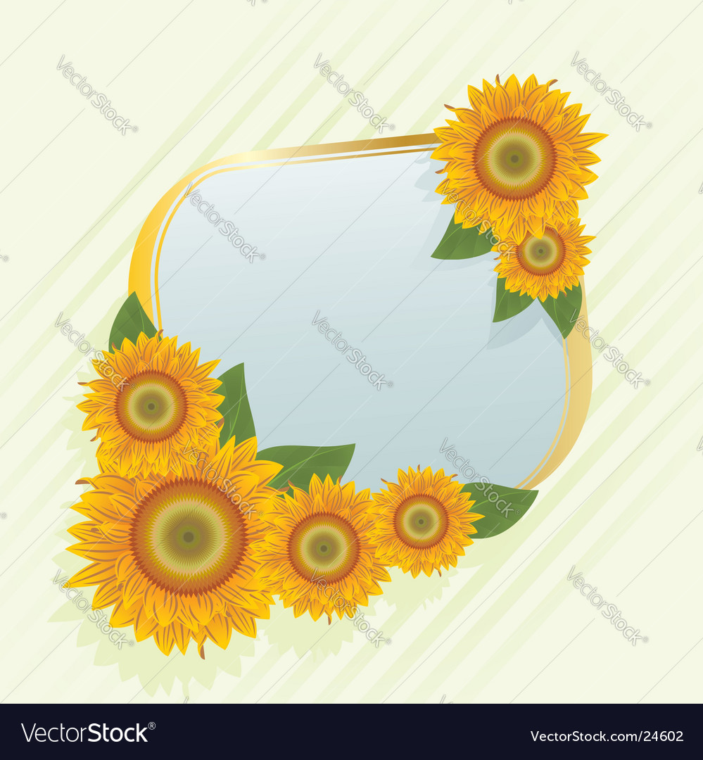Gold frame with abstract sunflowers vector | Price: 1 Credit (USD $1)