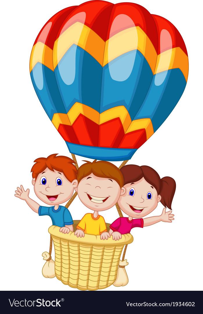 Happy kids cartoon riding a hot air balloon vector | Price: 1 Credit (USD $1)