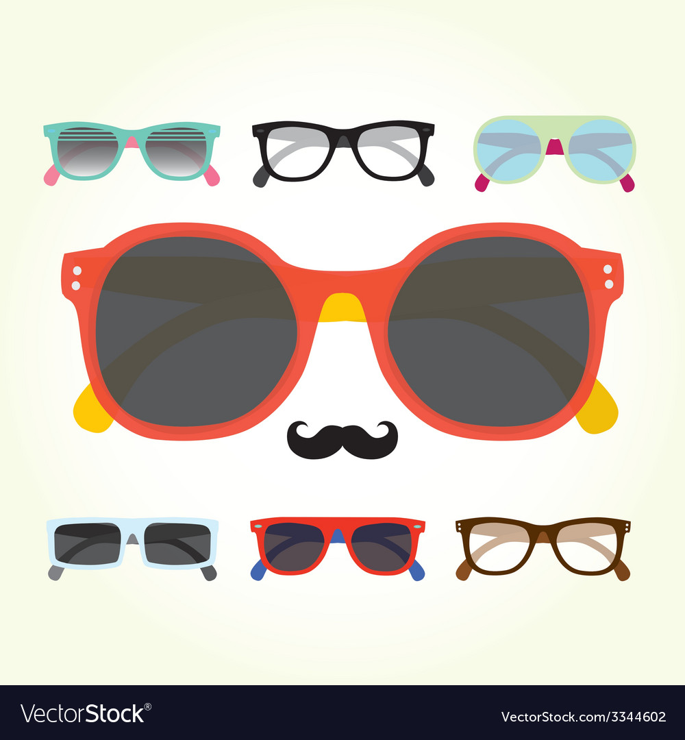 Hipster glasses set vector | Price: 1 Credit (USD $1)
