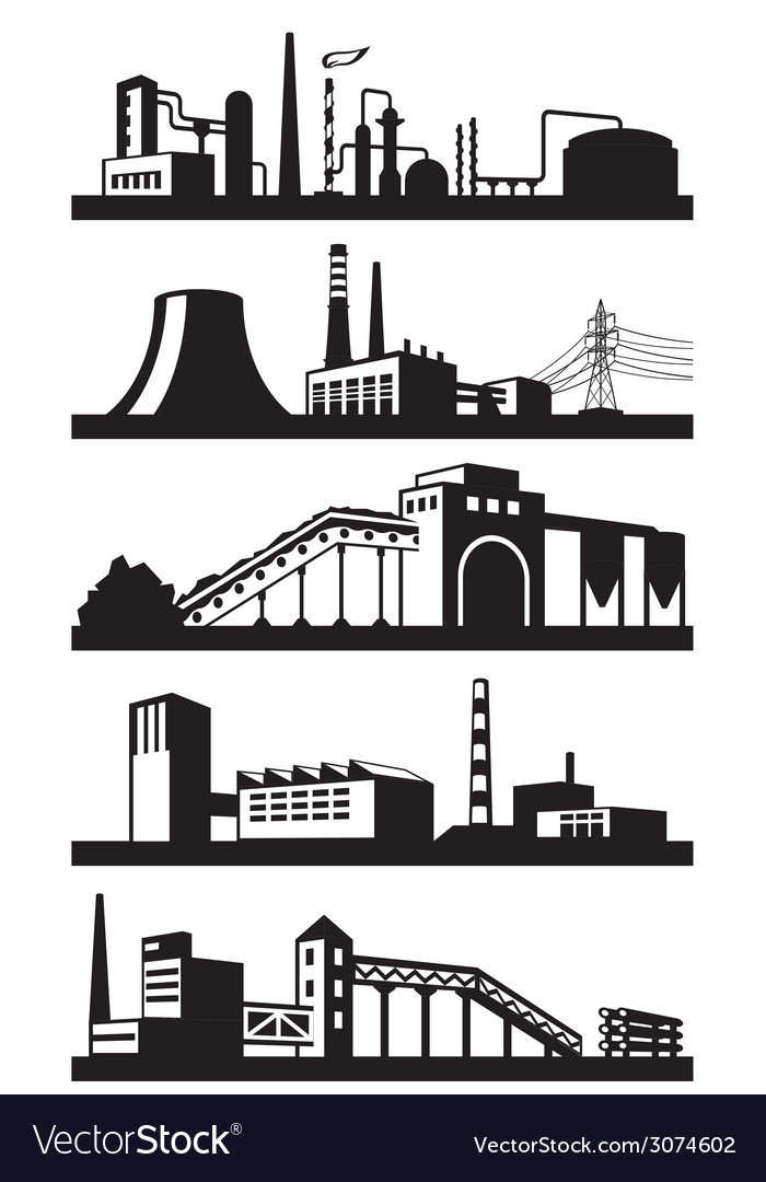Industrial plants in perspective vector | Price: 1 Credit (USD $1)