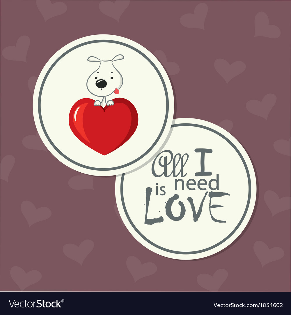 Love card dog on heart vector   Price: 1 Credit (USD $1)