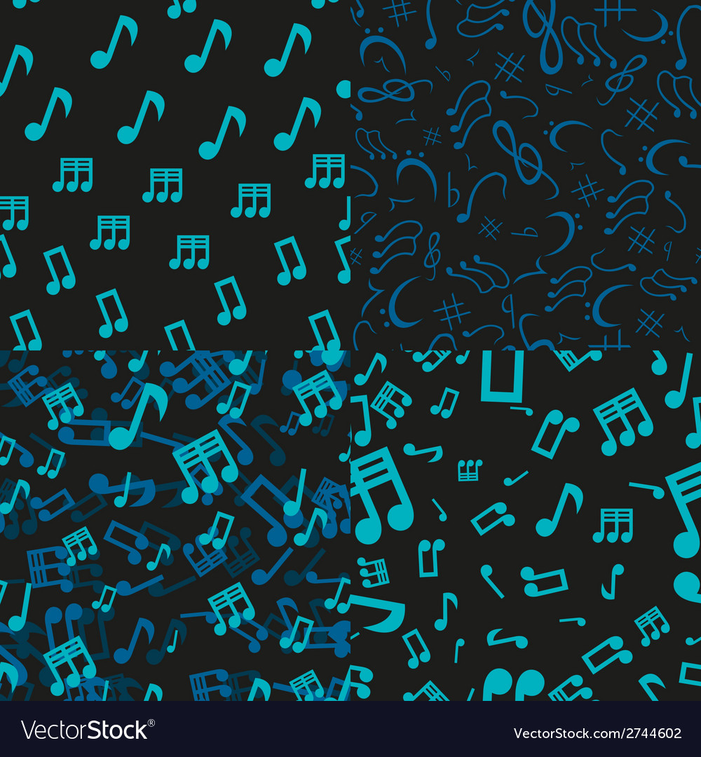 Musical notes seamless patterns vector | Price: 1 Credit (USD $1)
