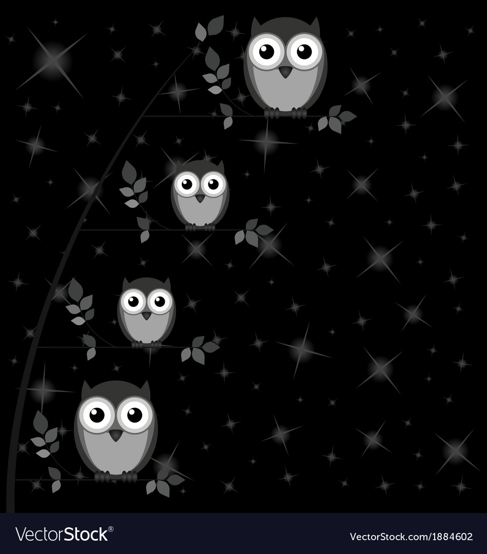 Owl family tree stars vector | Price: 1 Credit (USD $1)