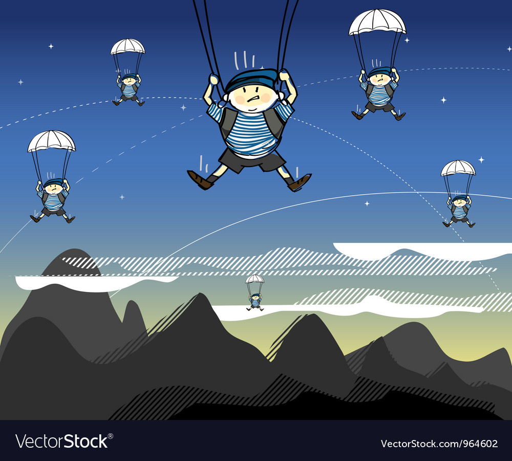 Soldiers coming from the sky vector | Price: 1 Credit (USD $1)