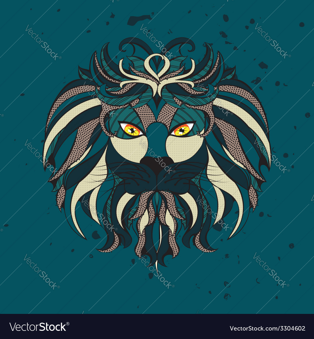 Stylized lion head2 vector | Price: 1 Credit (USD $1)