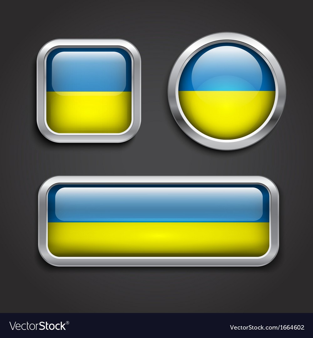 Ukraine flag glass buttons vector | Price: 1 Credit (USD $1)