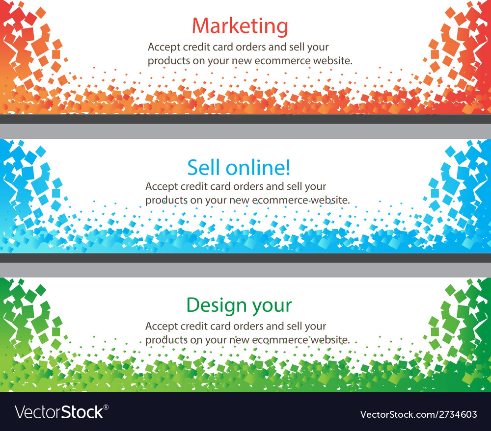 Colorful horizontal banners with square motive vector | Price: 1 Credit (USD $1)
