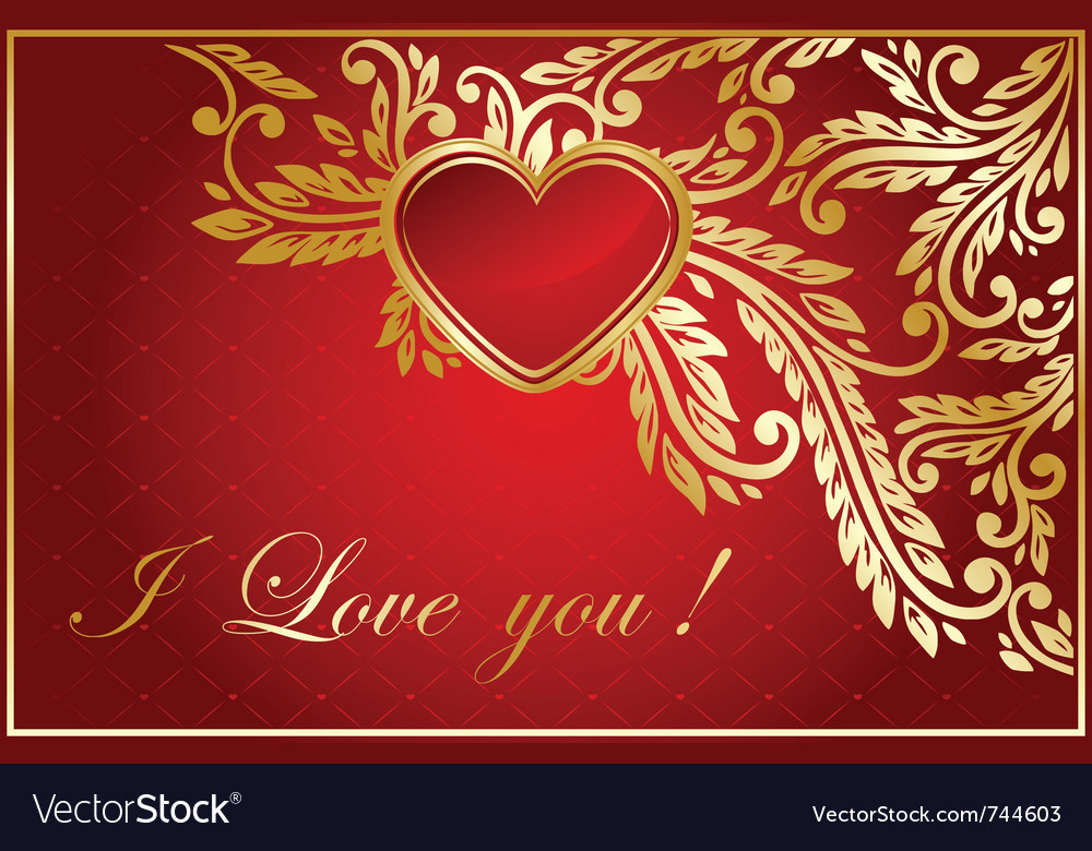 Floral valentine card vector | Price: 1 Credit (USD $1)