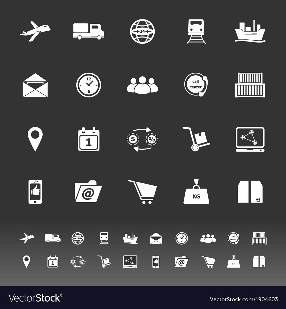 Logistic icons on gray background vector | Price: 1 Credit (USD $1)