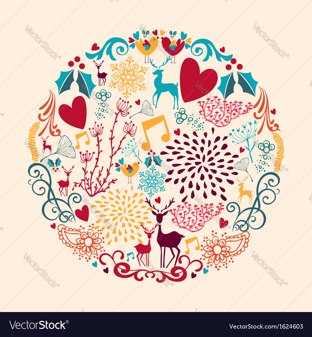 Merry christmas circle shape full of love vector | Price: 1 Credit (USD $1)