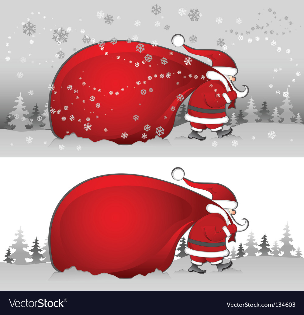 Santa with bag in grey vector | Price: 1 Credit (USD $1)