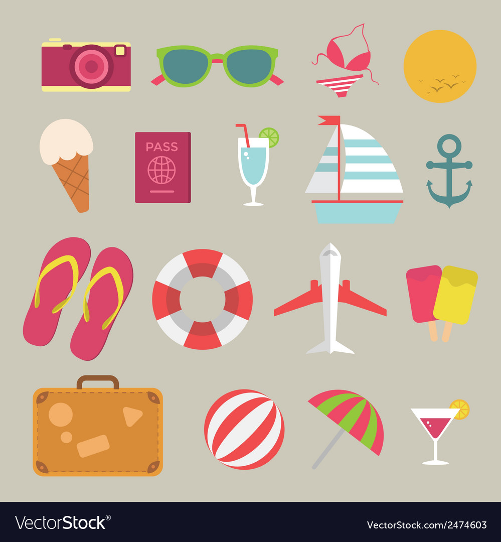 Summer flat icon set on the beach vector | Price: 1 Credit (USD $1)