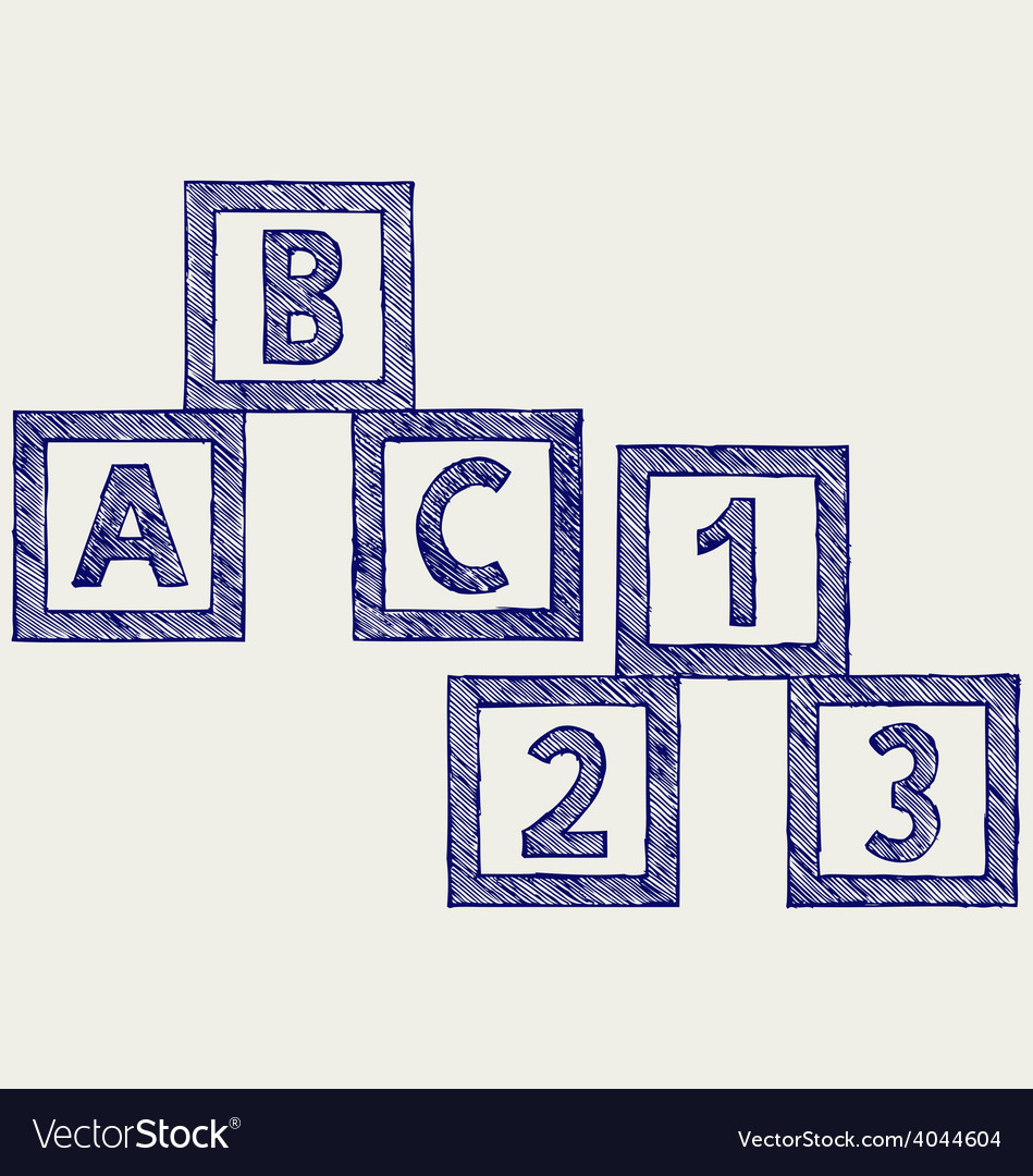 Alphabet cubes with abc letters and numerals vector | Price: 1 Credit (USD $1)