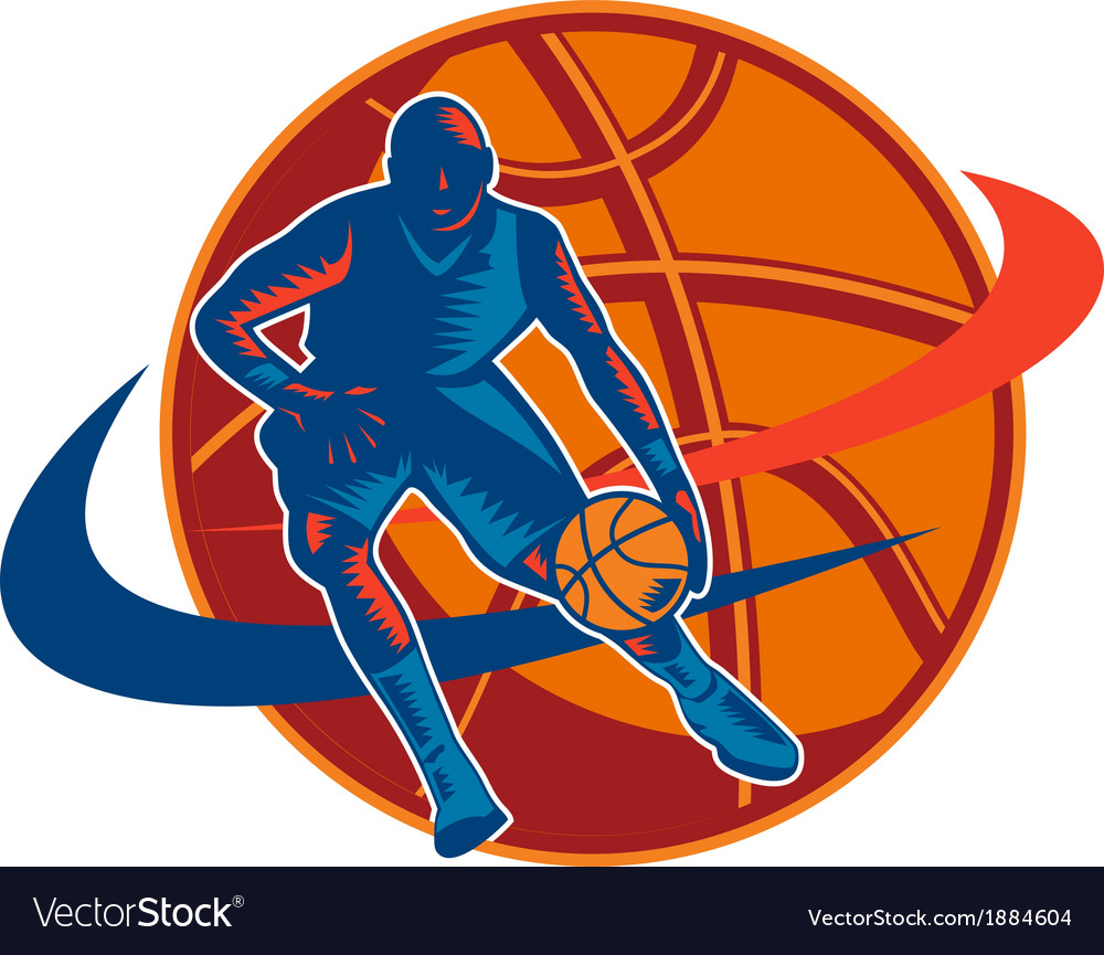 Basketball player dribbling ball woodcut retro vector | Price: 1 Credit (USD $1)