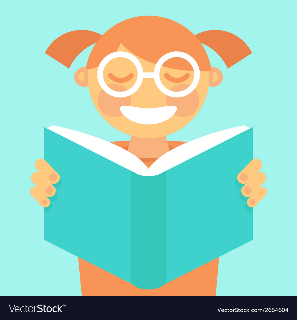 Cartoon kid reading book vector | Price: 1 Credit (USD $1)