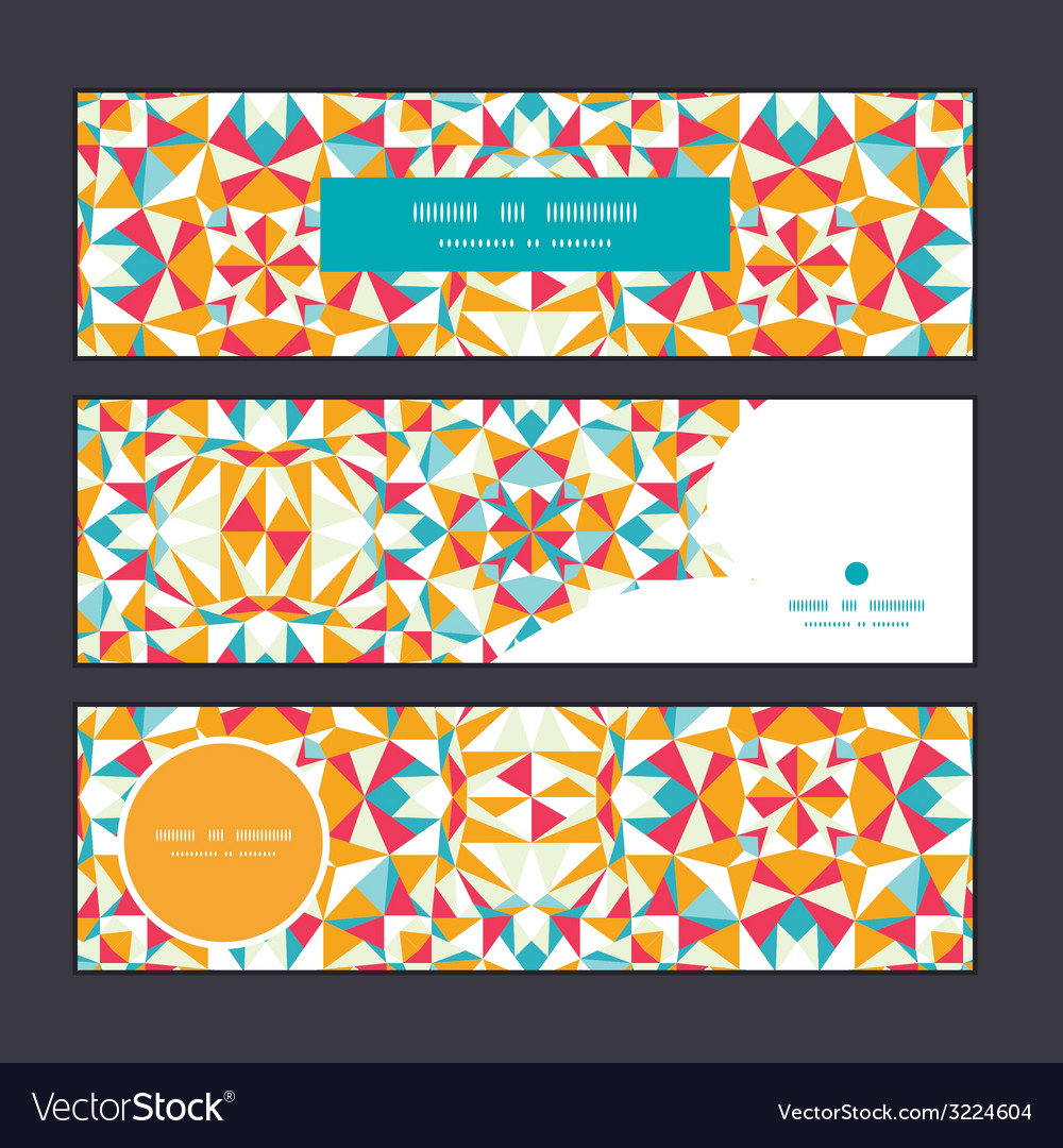 Colorful triangle texture horizontal banners set vector | Price: 1 Credit (USD $1)