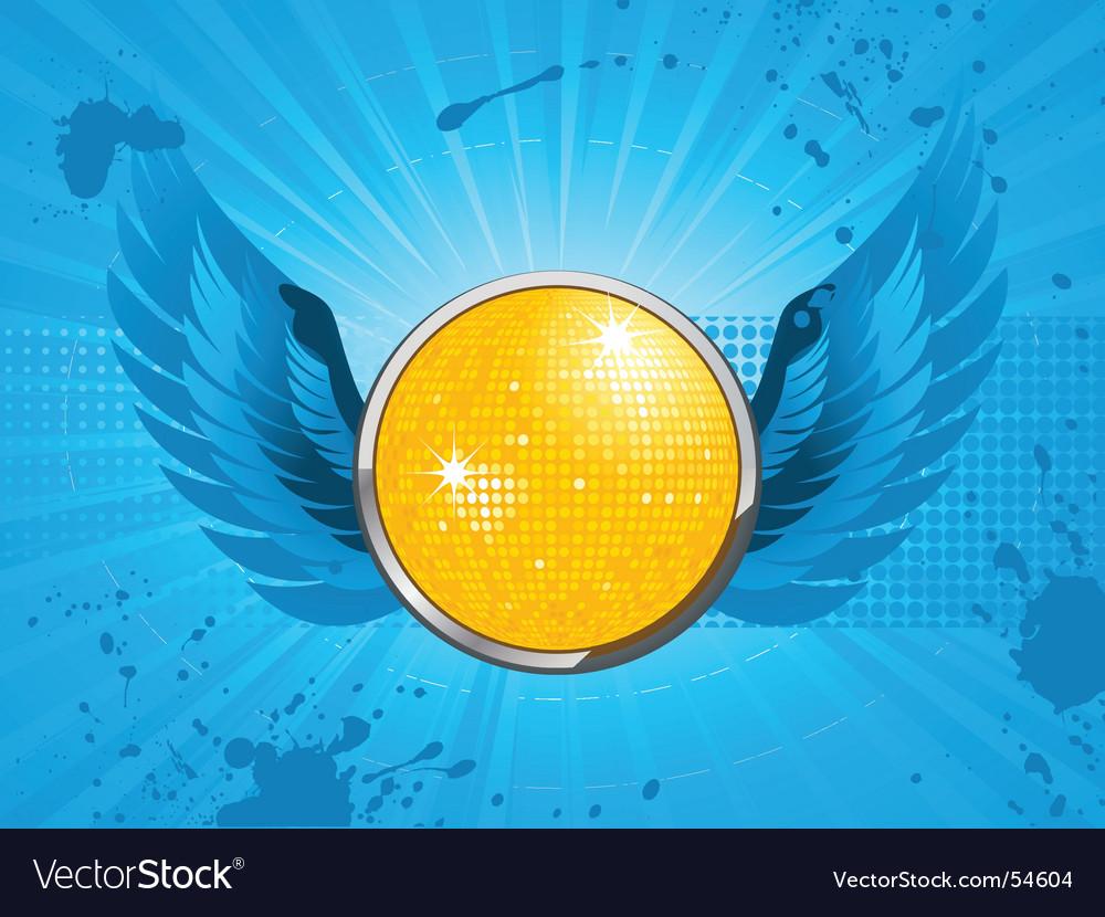 Disco party shield vector | Price: 1 Credit (USD $1)