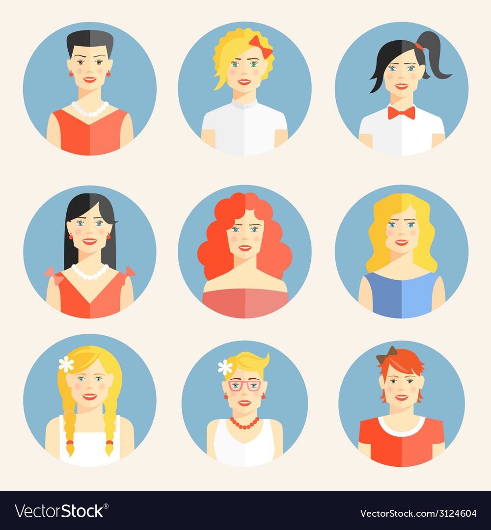 Flat icons with portraits of fashionable women vector | Price: 1 Credit (USD $1)