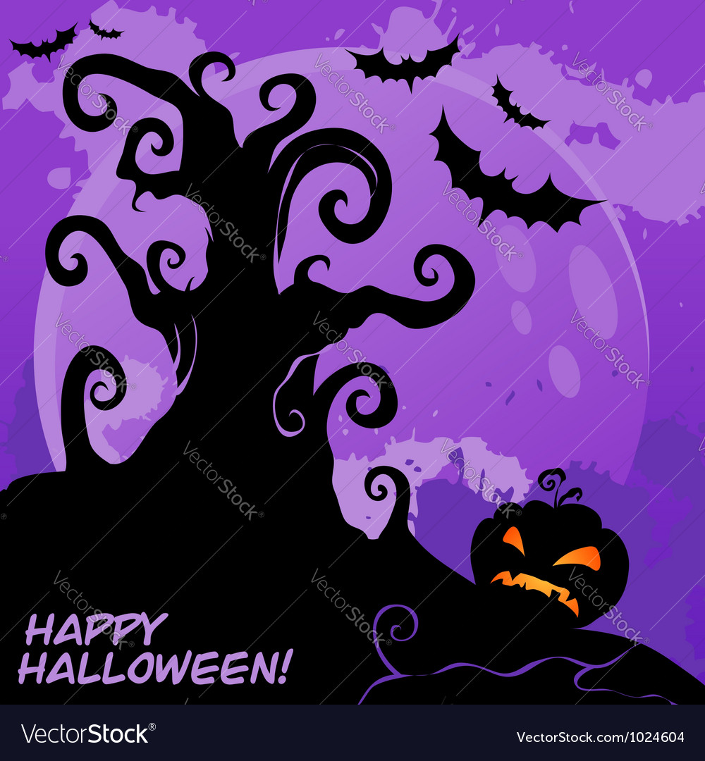 Halloween tree card lilac vector | Price: 1 Credit (USD $1)