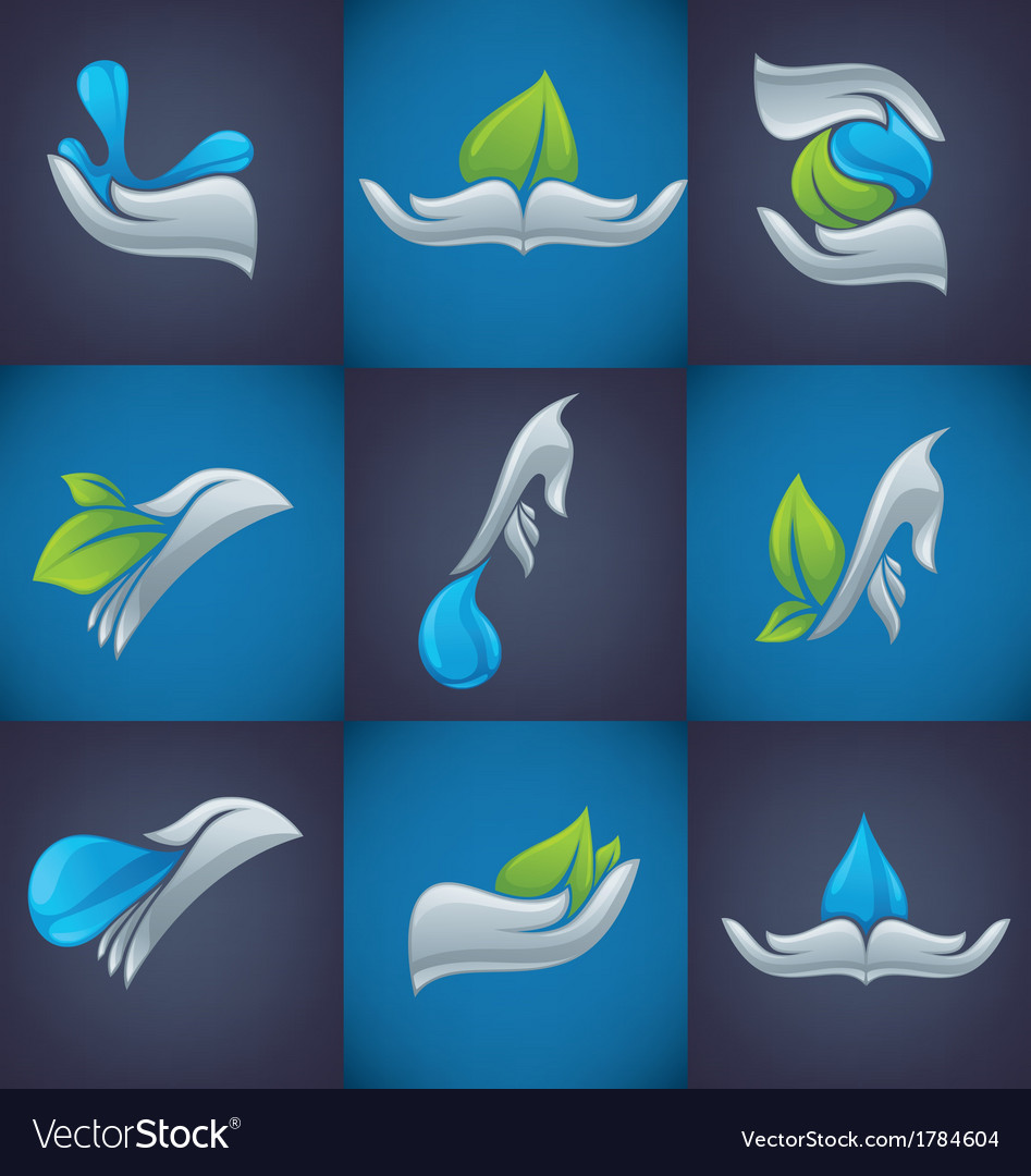 Hands and nature symbols vector | Price: 1 Credit (USD $1)