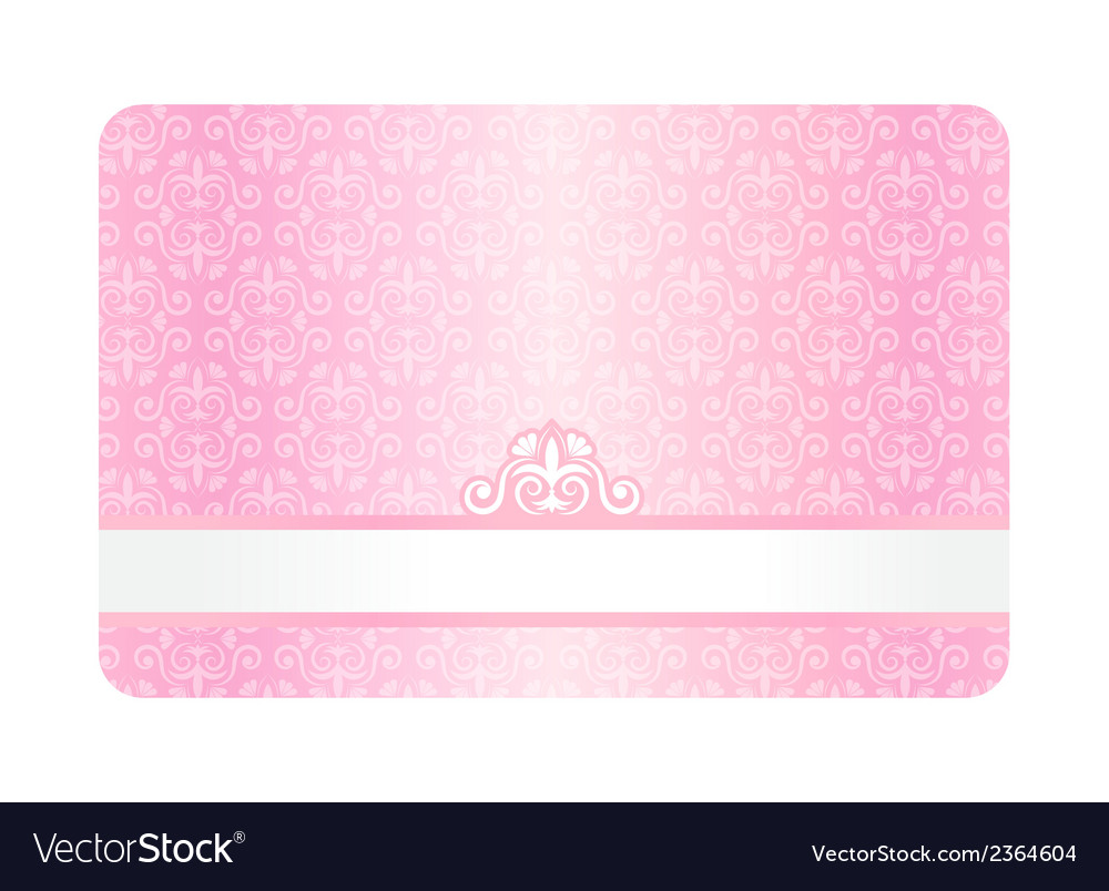 Pink card with vintage pattern vector | Price: 1 Credit (USD $1)