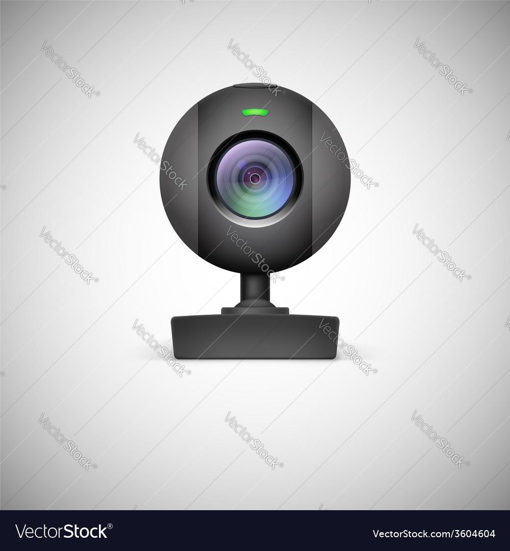 Realistic white webcam icon vector | Price: 1 Credit (USD $1)