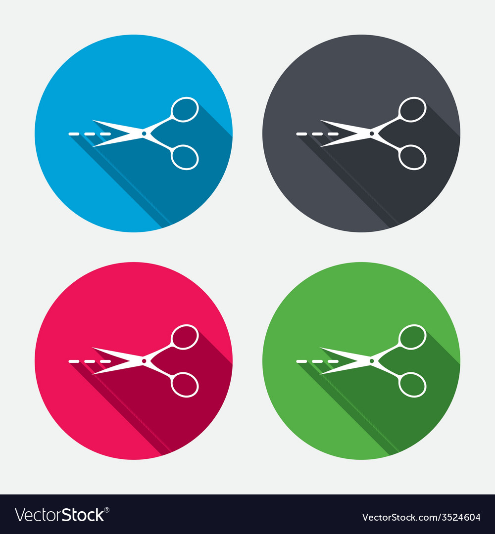 Scissors with cut line sign icon tailor symbol vector | Price: 1 Credit (USD $1)