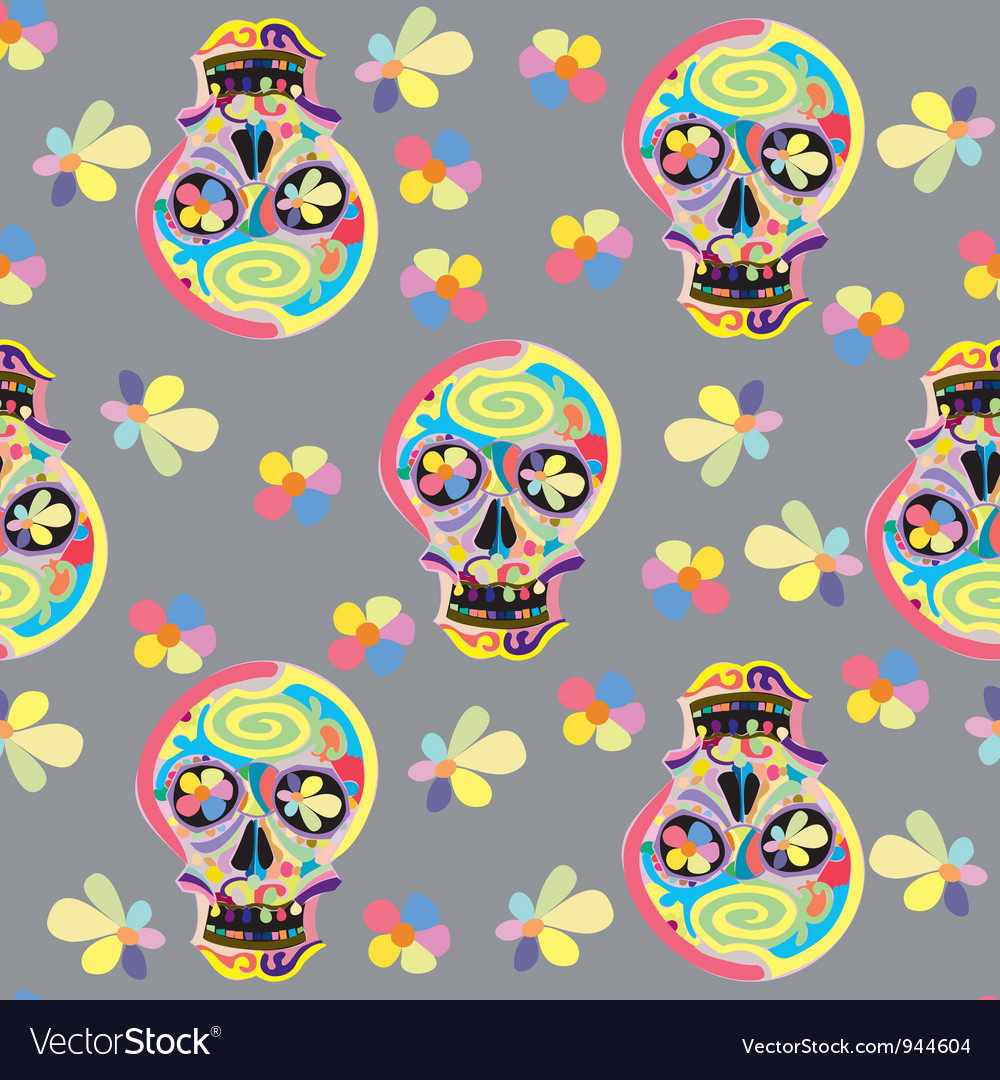 Seamless skull pattern vector | Price: 1 Credit (USD $1)