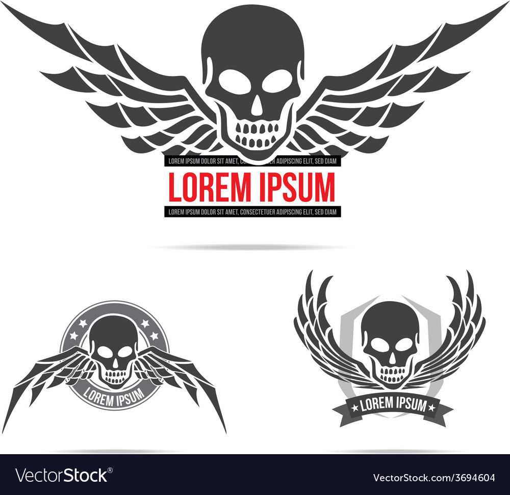 Skeleton skull with wing logo emblem element 001 vector | Price: 1 Credit (USD $1)