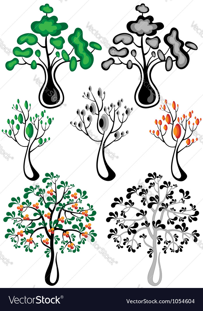 Stylized trees of different species vector | Price: 1 Credit (USD $1)